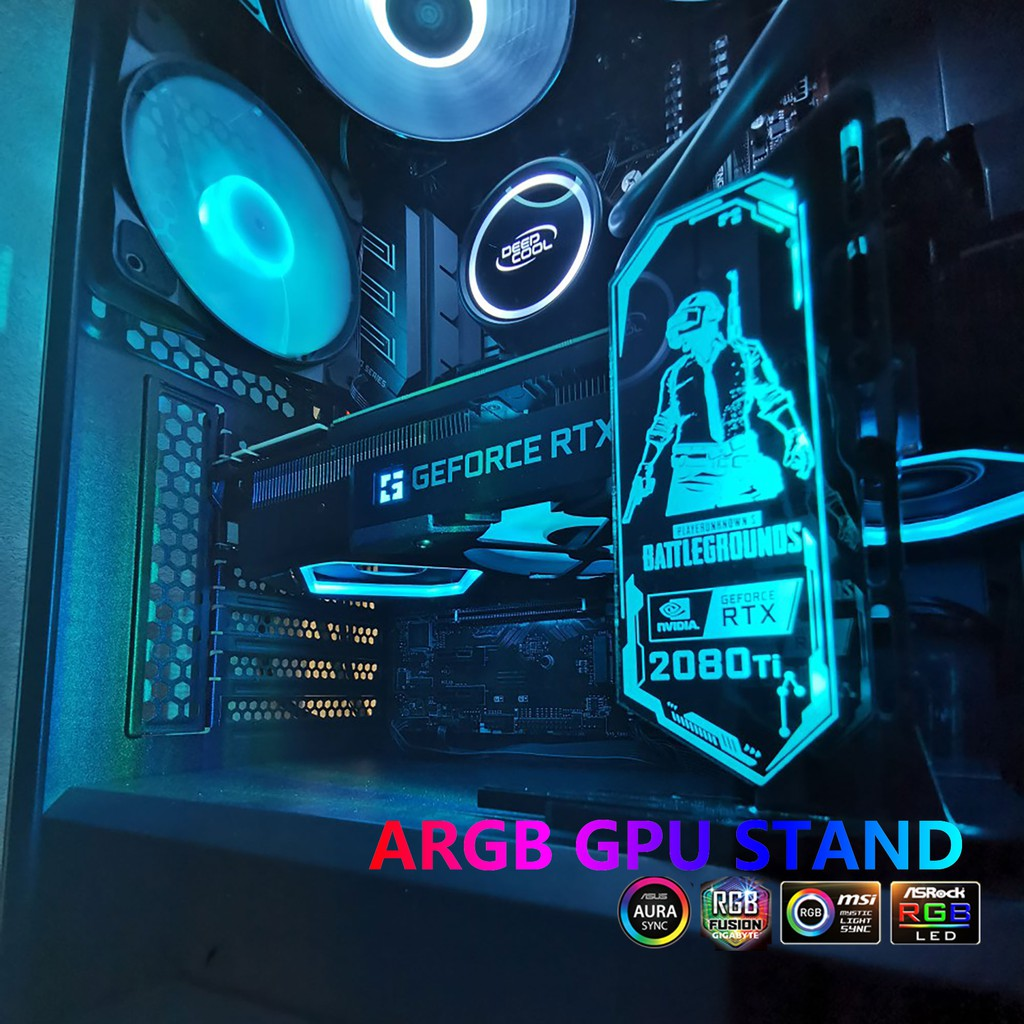customize ARGB graphics card holder stand gpu support pc case decoration
