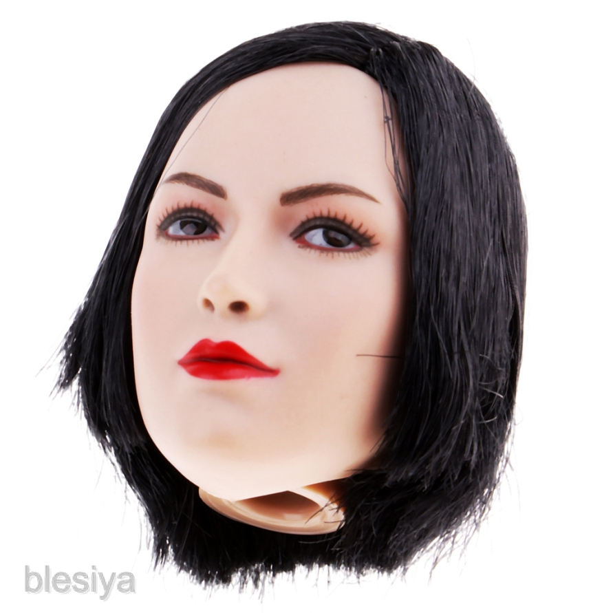 YMTOYS CG CY Girl Asia Female Black Short Hair Head 1//6 Fit for PHICEN Body
