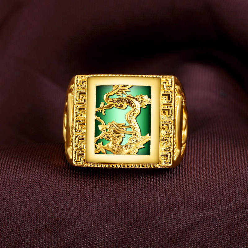 Couple Womens mens Vintage Band Jade Ring Size 7 8 10 11 Promise Gold Filled 14k