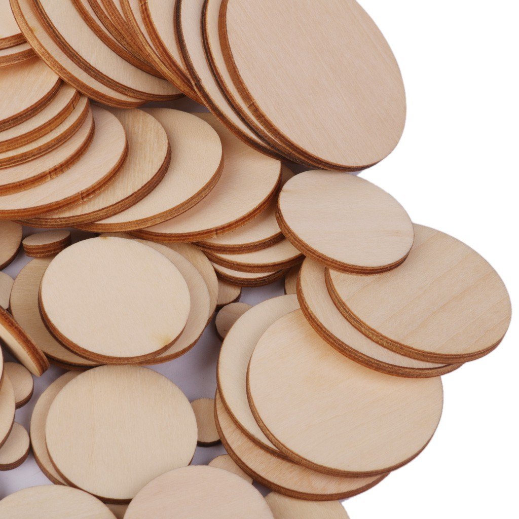 100x 5-10mm Assorted Natural Pine Tree Wood Slices Logs Circles Discs Pieces