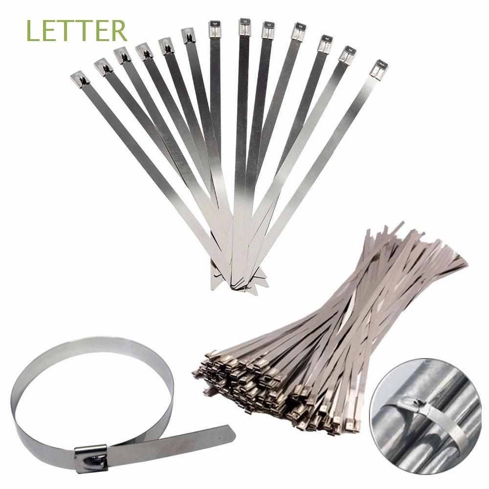 50Pcs Stainless Steel Self-Locking Zip Straps Cable Ties