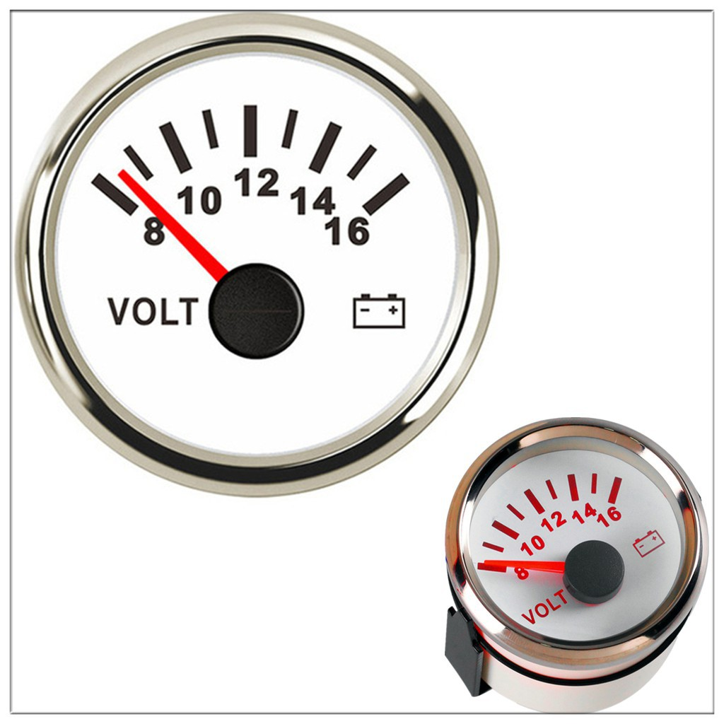 Universal pointer12v 2 52mm Volt Voltage Meter Gauge Voltmeter Car Auto Measure Range 8-16v LED light dial black