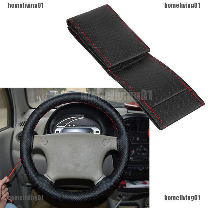 DIY 15/'/' 37-38cm PU Leather Steering Wheel Cover Non-Slip Grip w// Needle Thread