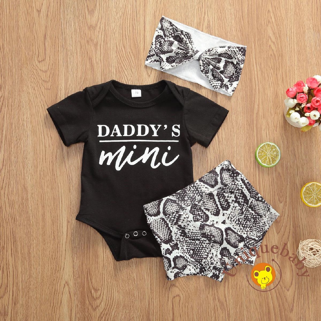 ONEs Infant Baby Girls Daddys Girl Bodysuit Romper with Floral Ruffle Bow-Knot Short and Headband