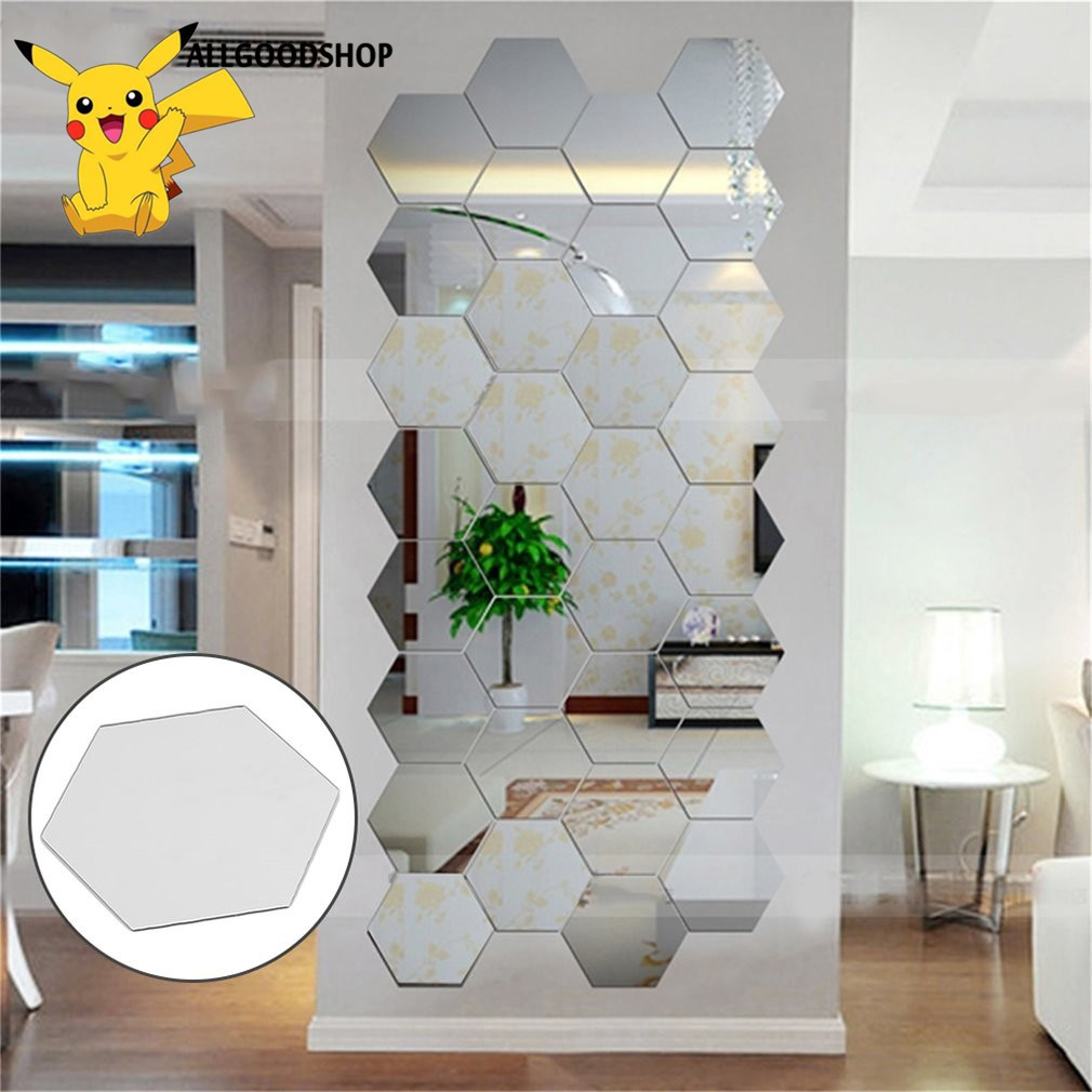 [COD] Modern Mirrors 12pcs 3D Hexagon Acrylic Wall Stickers Bedroom Living  Room Wall Sticker Art DIY