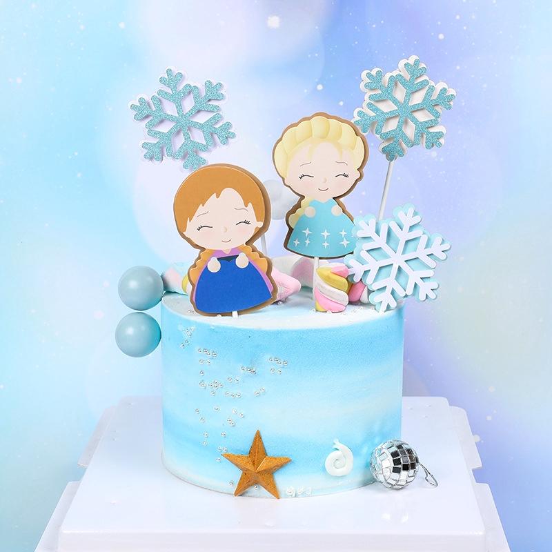 Cool 5Pcs Set Dream Girl Blue Snowflake Birthday Wedding Cake Topper Funny Birthday Cards Online Fluifree Goldxyz