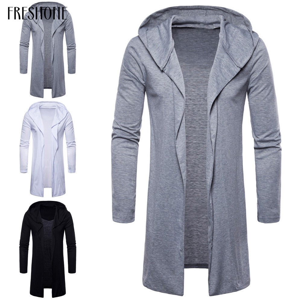 Men Long Sleeve Hooded Cardigan Cloak Thin Trench Coat