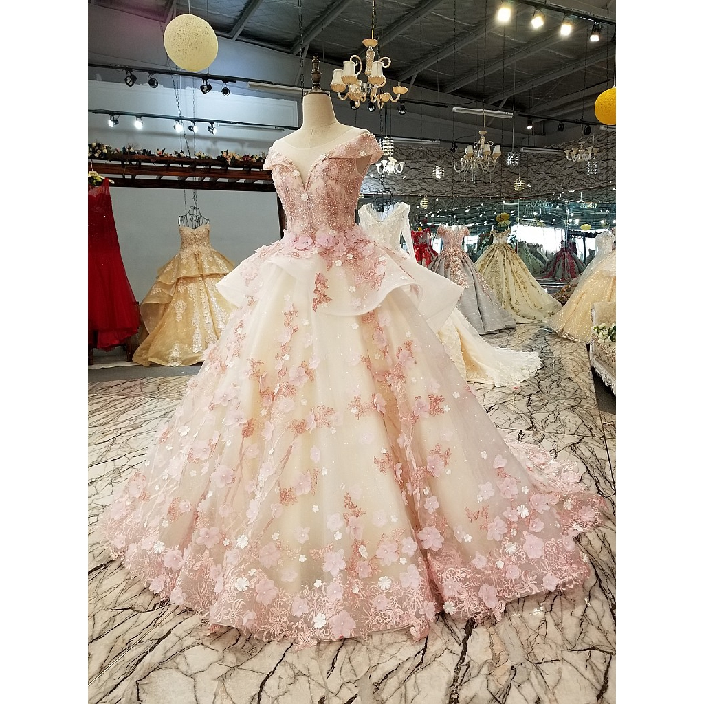 Pink Princess Bride Shoulder Korean style Slim Wedding Dresses Wedding  Dresses Evening Dresses