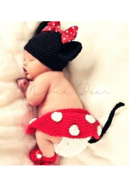 Mickey Minnie Mouse Newborn Baby Girl Boy Crochet Knit Costume Photo Prop Outfit