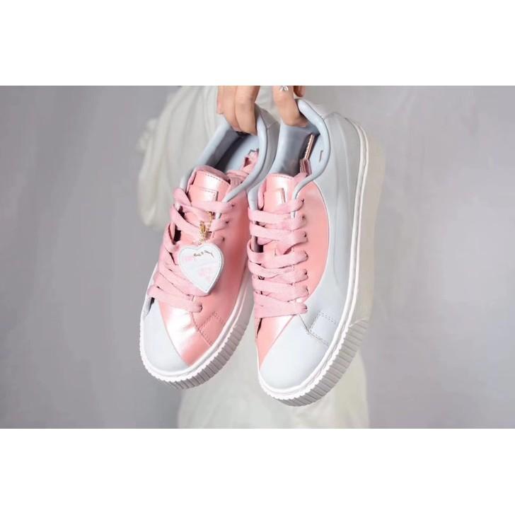 new list newest style wholesale *Lowest price*Original rihanna puma Basket Platform Valentine grey pink  womens shoes Sneakers