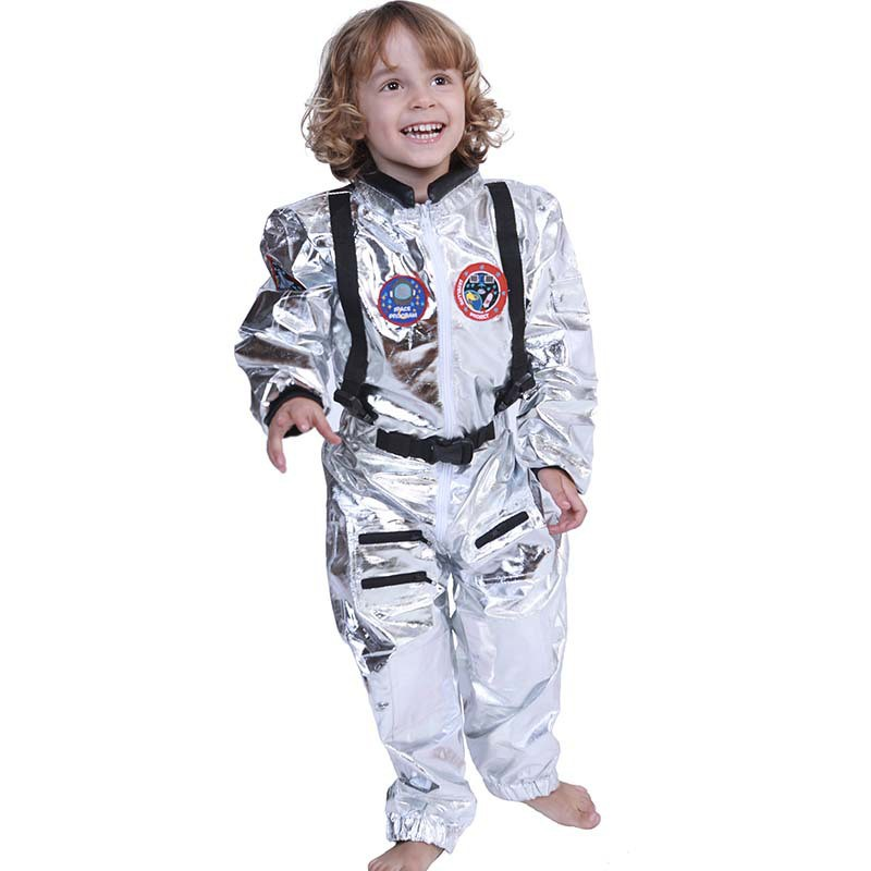 Mens Spaceman Costume Adult Astronaut Fancy Dress Space Man Nasa Outfit Jumpsuit