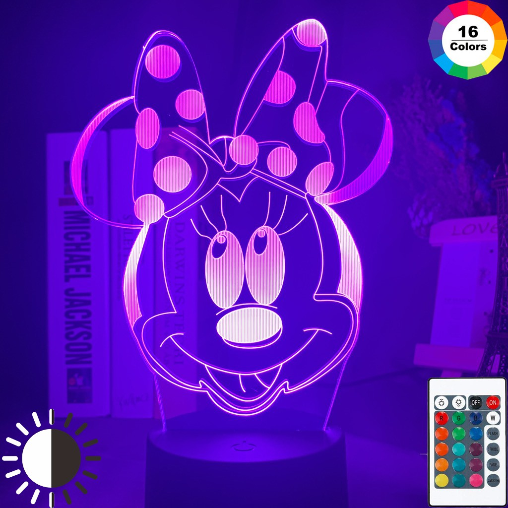 Image of: 3d Led Night Lamp Minnie Mouse Head Nightlight For Girls Bedroom Decor Touch Sensor Color Changing Usb Table Led Night Light Shopee Philippines