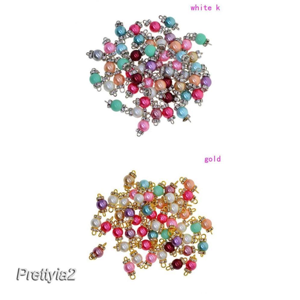 50pcs Dangle Charms Glass Pearl Pendants for Earring Bracelet Jewelry Making