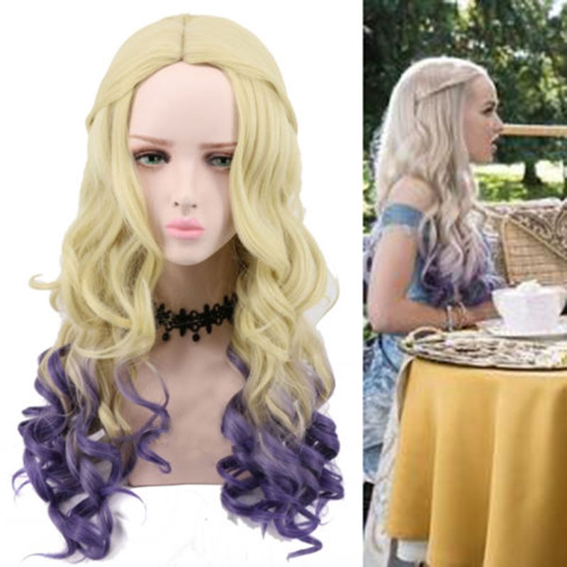 Mal Cosplay Wig Long Wavy Blonde Purple