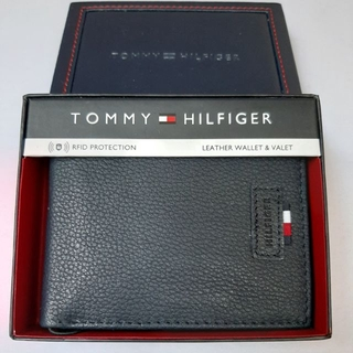 outlet online united states limited guantity Tommy Hilfiger Men's Navy Genuine Leather Fixed Passcase Wallet w/ RFID  Protection