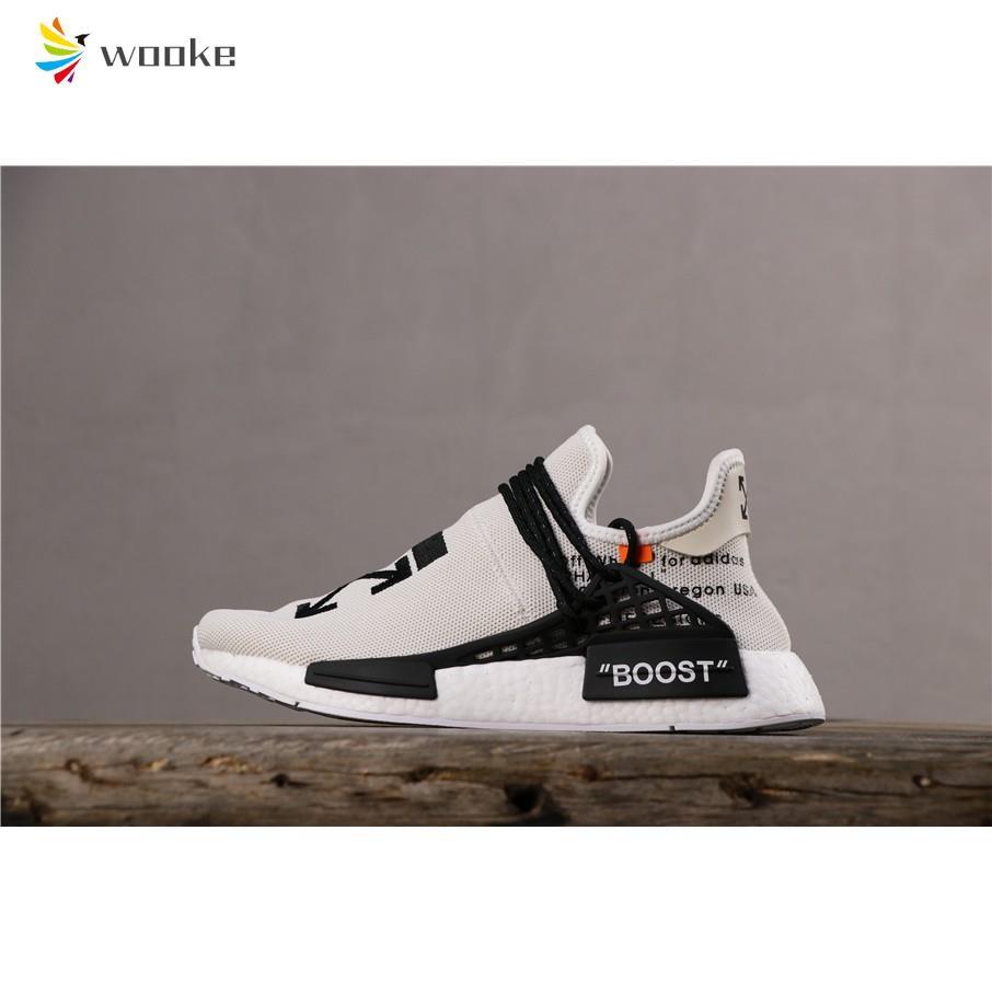 [songan]Adidas Pharrell Williams x Human PW HU HOLI NMD MC Men Women Running Shoes for WhiteBlack