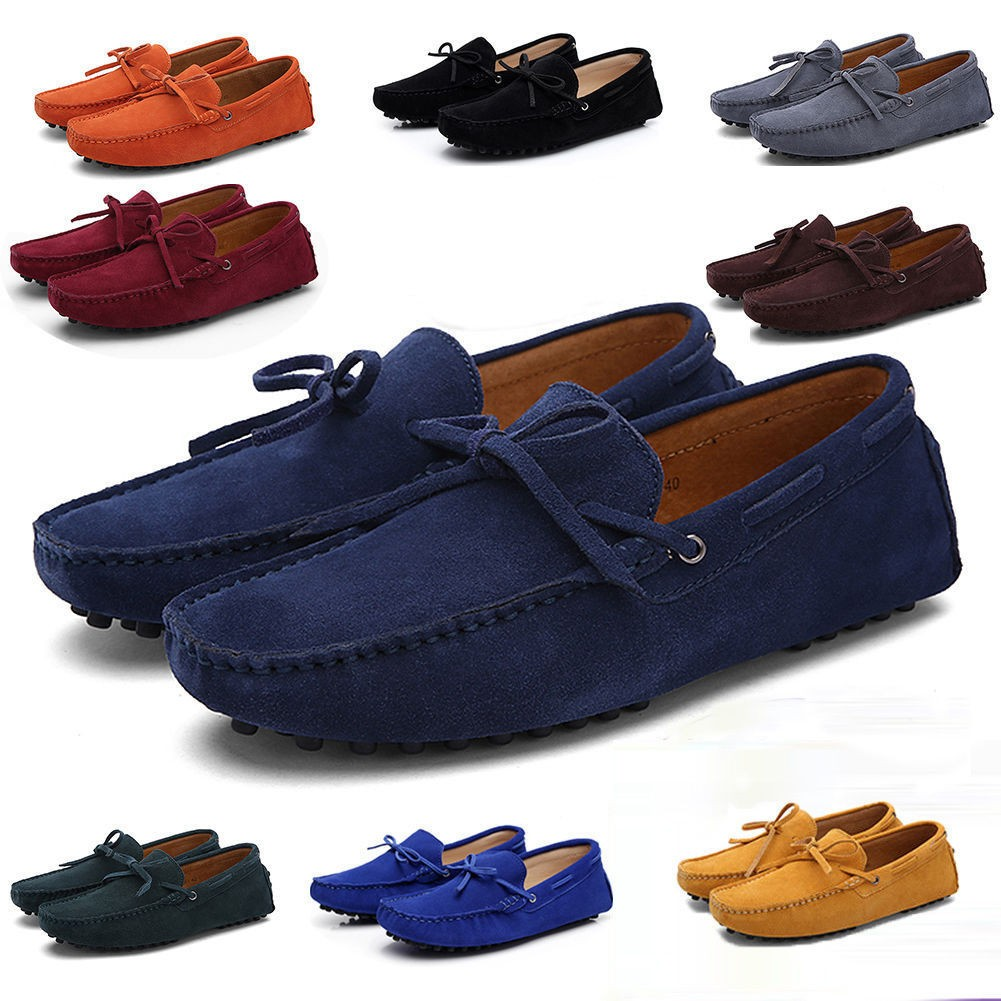 New Men/'s Loafers Driving Moccasins casual soft suede leather penny Shoes