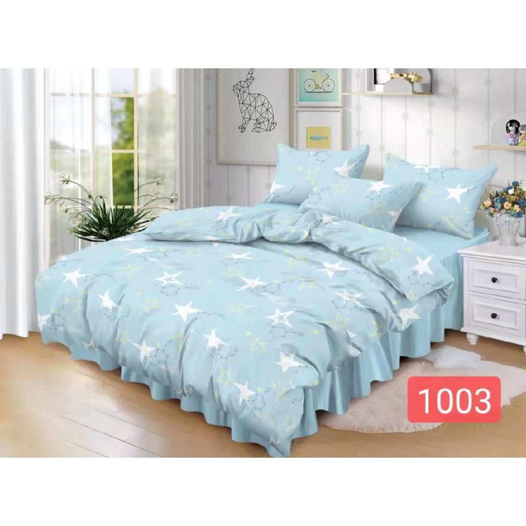 Plain Simple Style 3in1 Bed Sheet Sale Light Blue Bedsheet Single Double Queen Size New Design Shopee Philippines