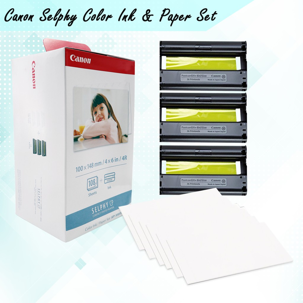Canon Selphy KP108 Color Inks and Paper Set