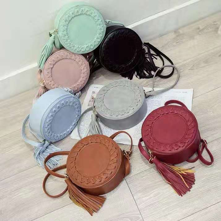 Perfect Korean Bohemian Retro Tassel Circle Sling Bag