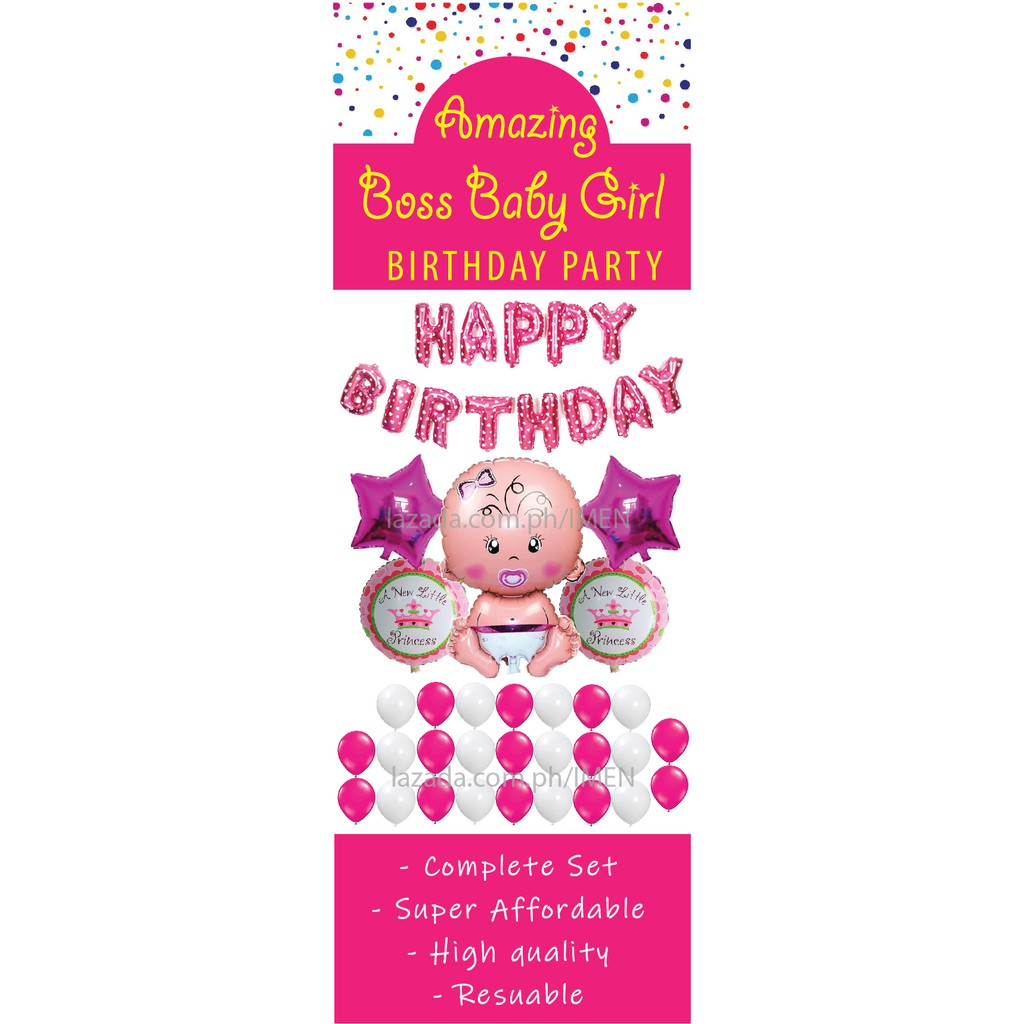Boss Baby Girl Complete Set Of Party Balloons Supplies