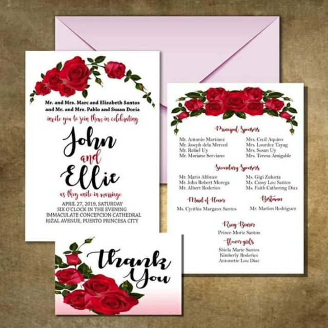 Rose Theme Wedding Invitation Cards