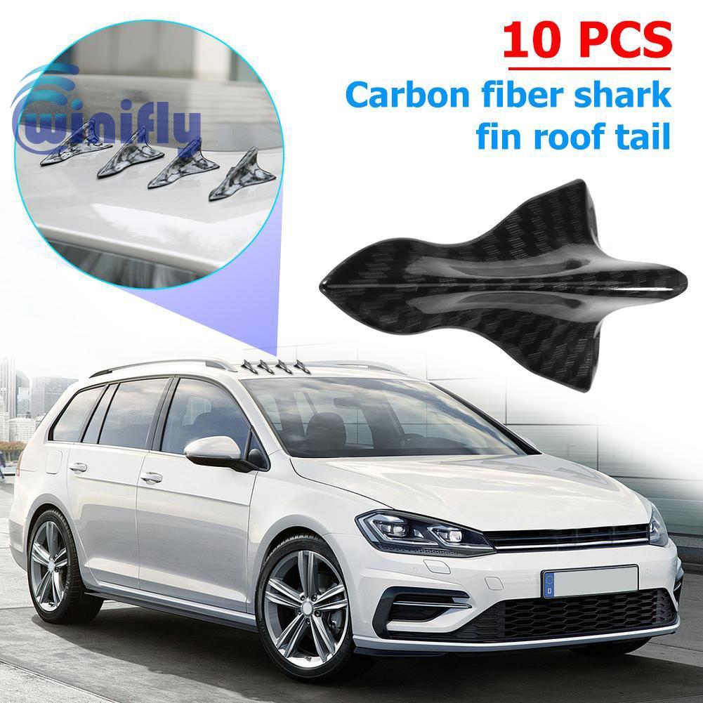 Carbon pattern 10Pcs Universal Mini Shark Fin Diffuser Vortex Generator Car Spoiler Roof Bumper Wing Decoration for Car