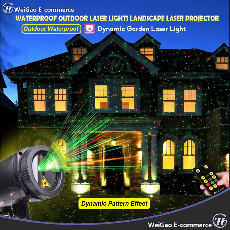 Dynamic Outdoor Laser Projector Light Xmas Landscape Garden House with 12 Image