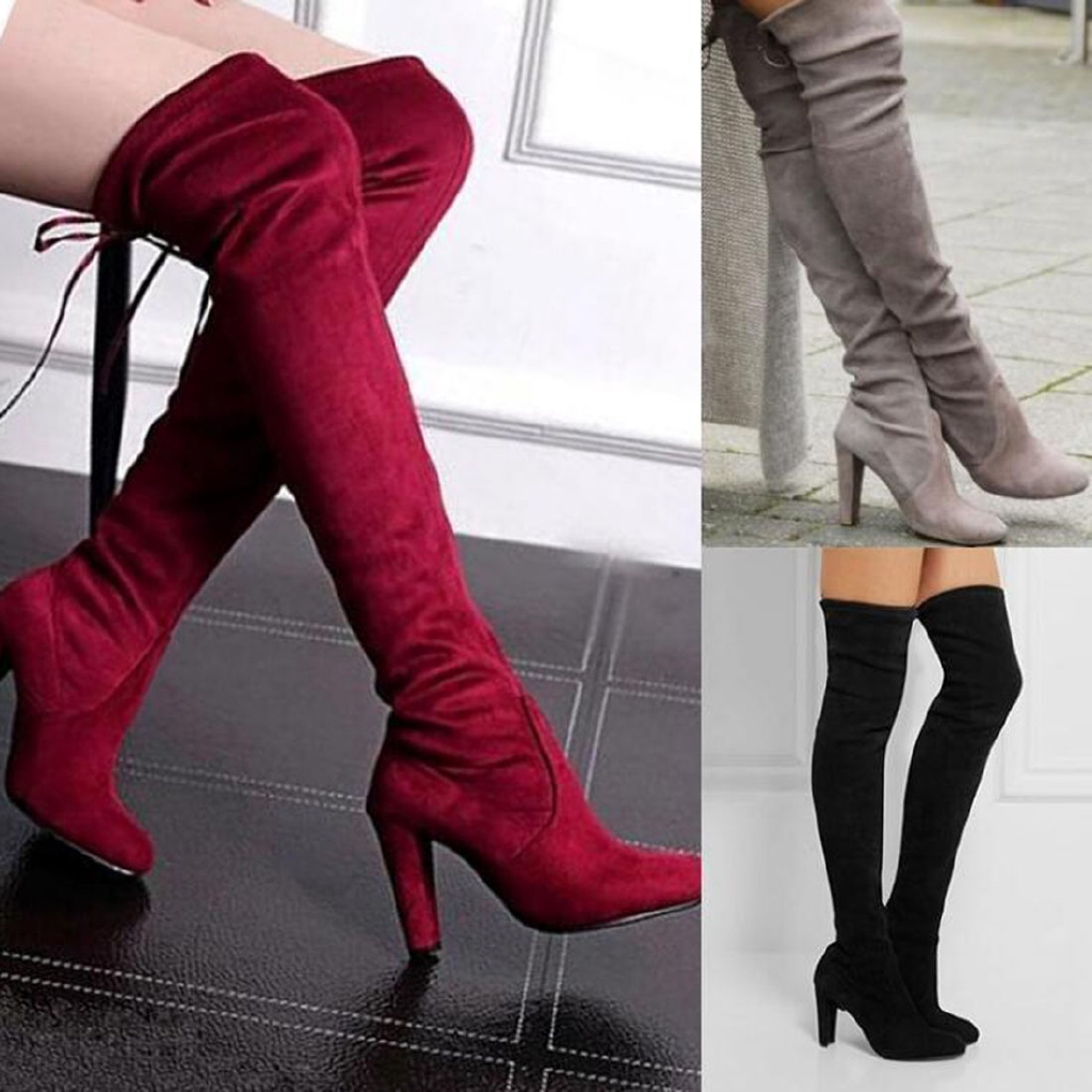 Women Breathable Flats Over The Knee Thigh High Knitting Wool Long Boots Shoes