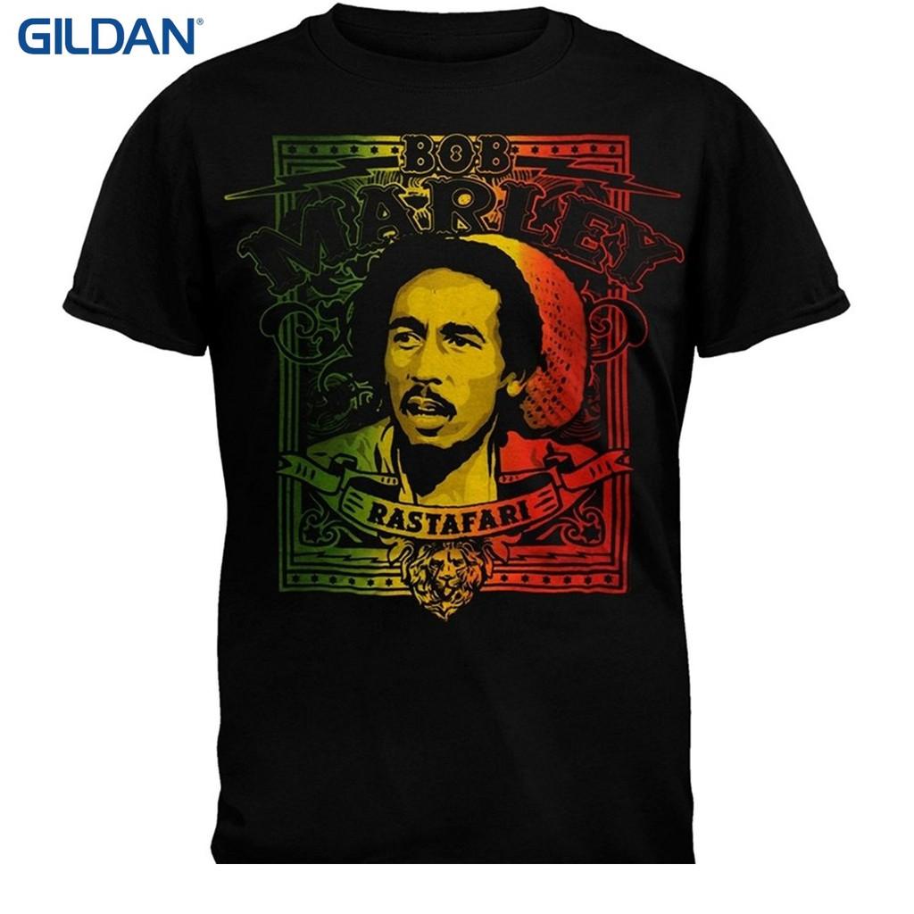Men's Clothing Funny Tee Shirt Hipster Summer Bob Marley Face Rasta Tri-color Adult Mens Black T-shirt T-shirts