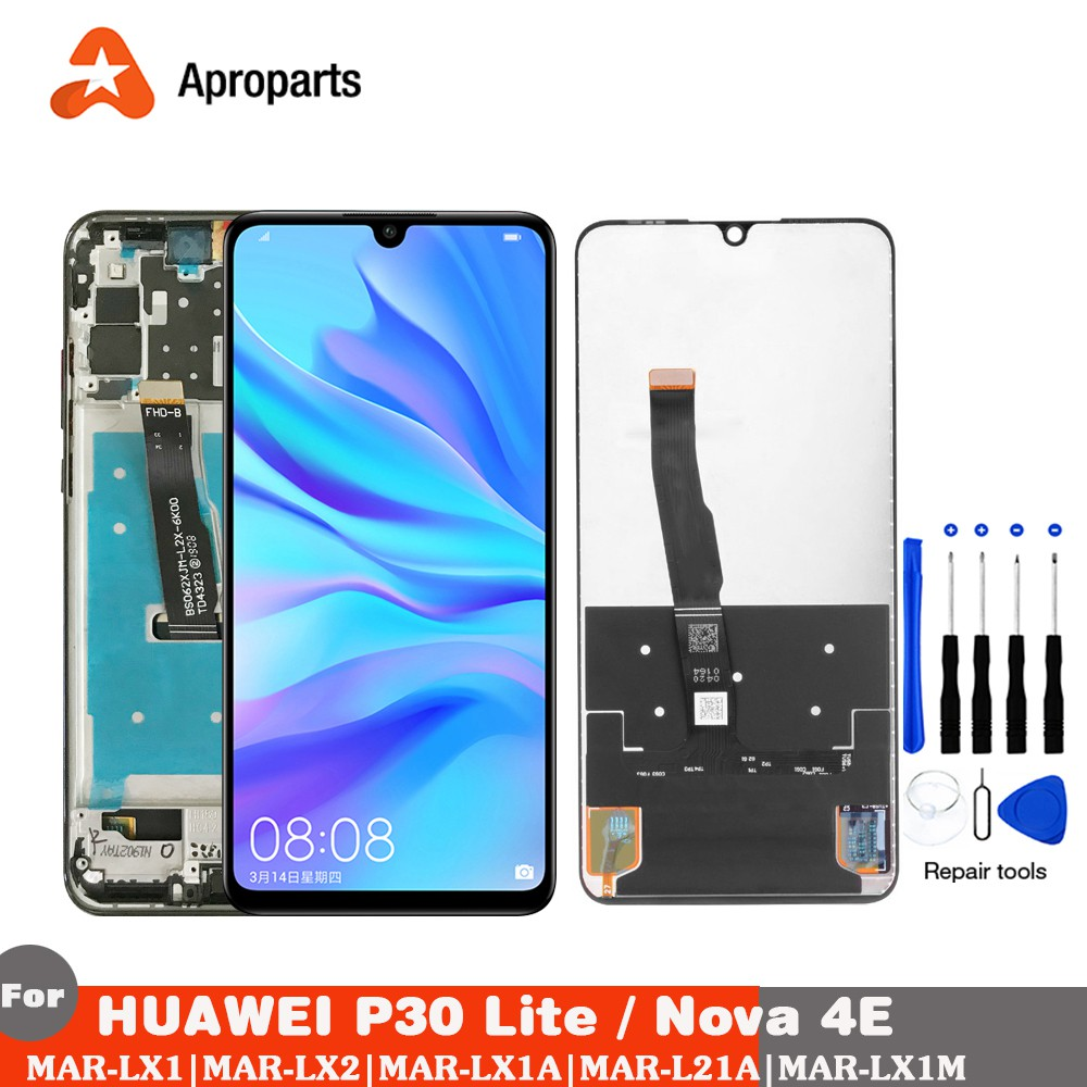 Original LCD For HUAWEI P30 Lite LCD Display Touch Screen with Frame  Digitizer Assembly Nova 4e LCD