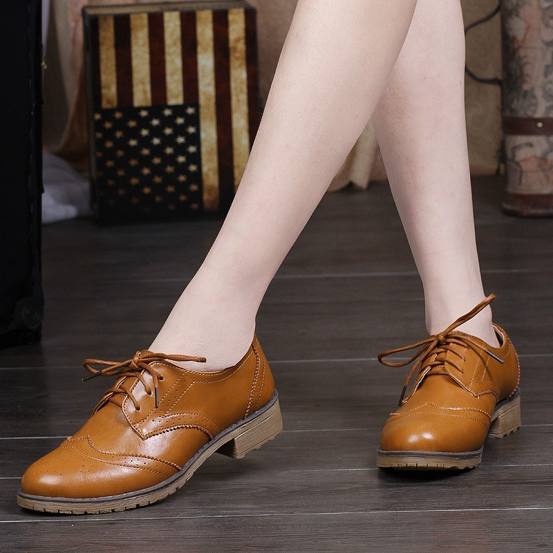 great fit footwear new list Oxford Shoes Women Leather Lace Up Shoes British Style | Shopee ...