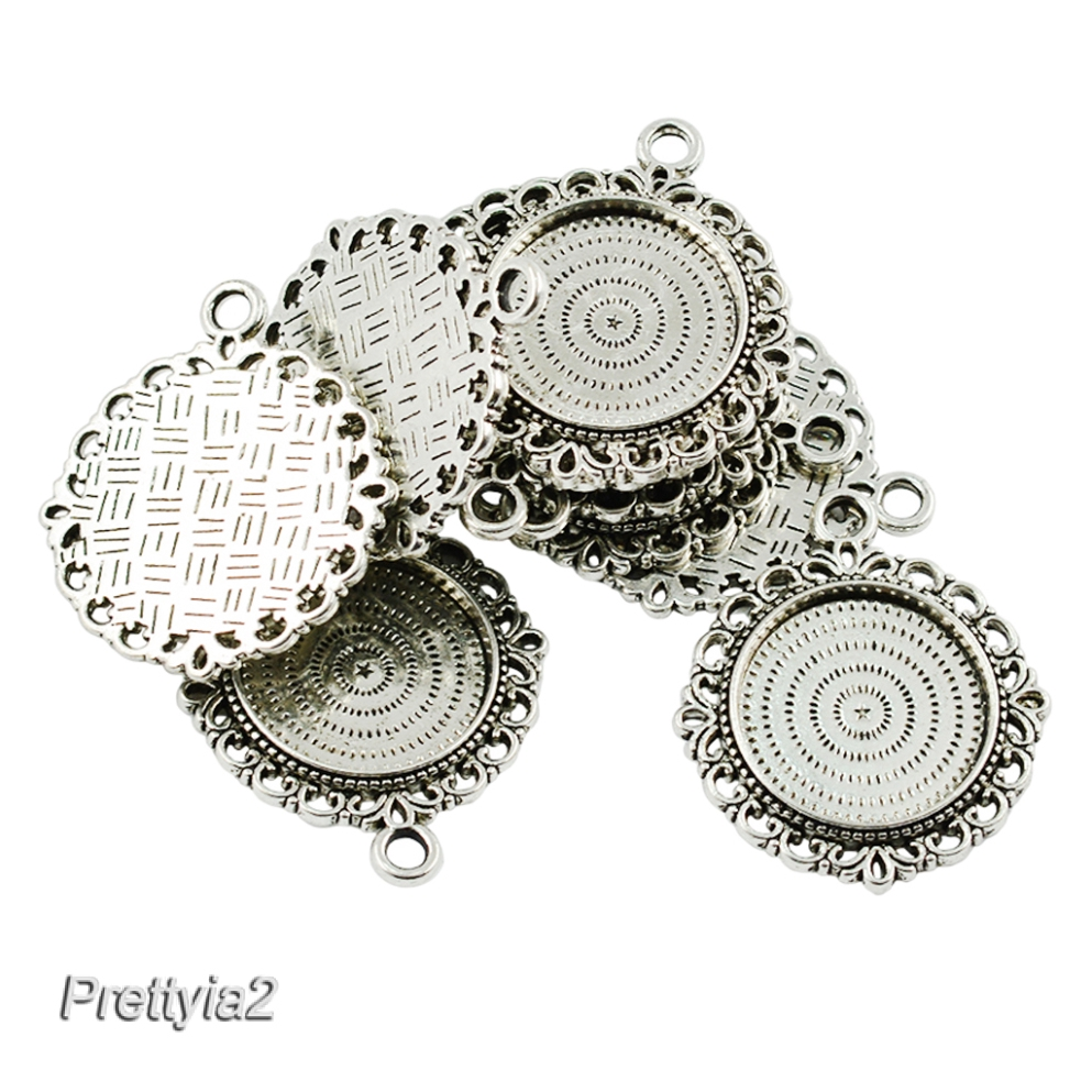 10x Blank Bezel Round Cameo Cabochon Pendant Setting Blanks Jewelry fit 25mm