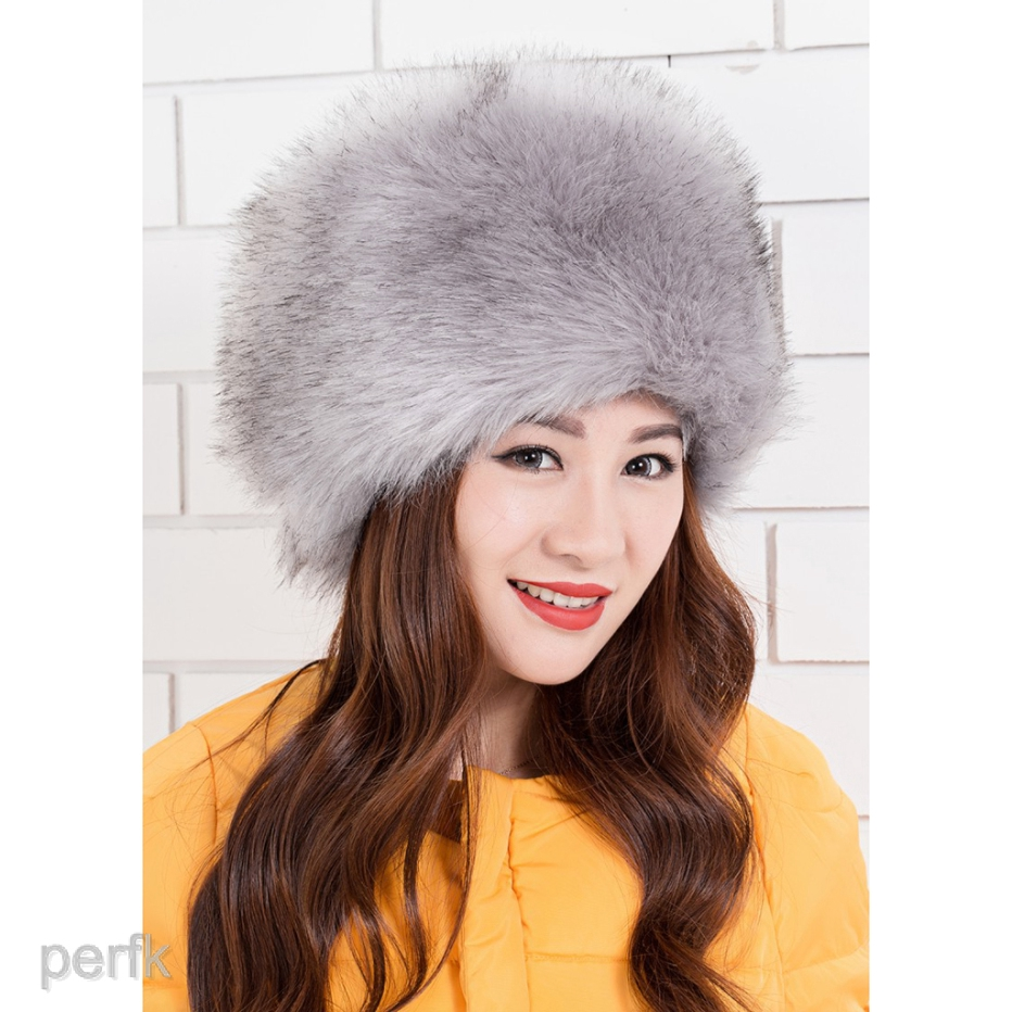 8caee04d2 Luxury Ladies Faux Fur Hat Russian Style Cossack Pillbox Winter Fake Fur