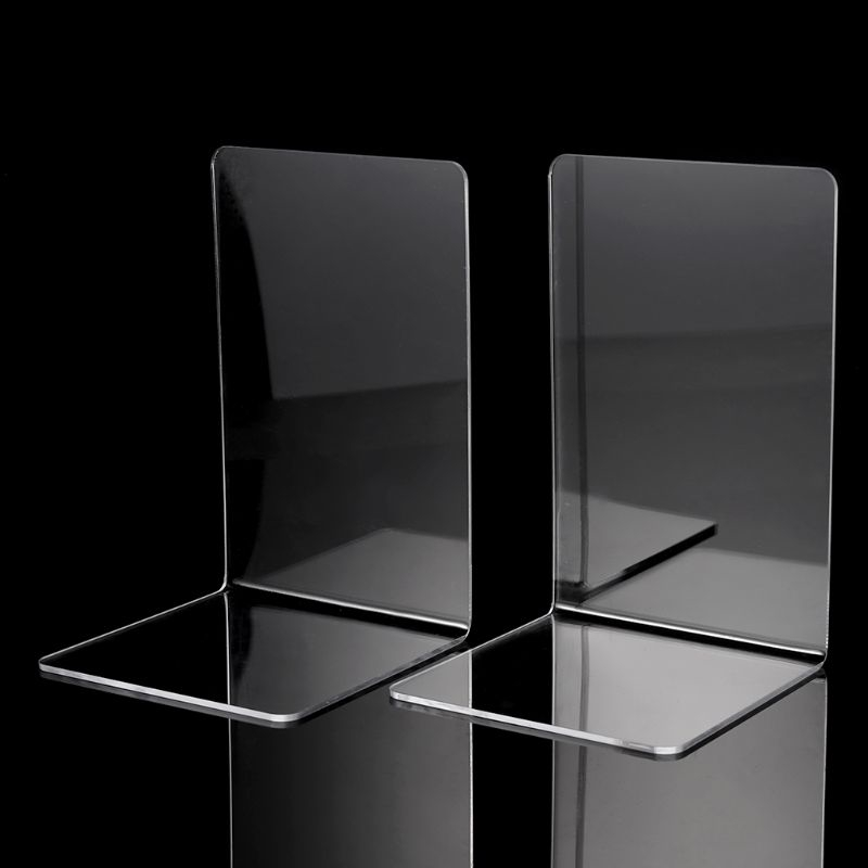 2pcs Plastic Clear Acrylic Bookend Organizer Stand Stationery Book Shelf Holders