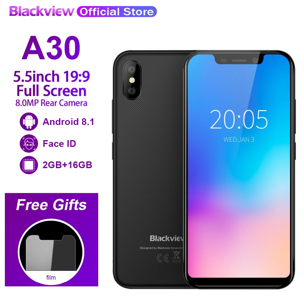Blackview A30 RAM 2GB+ROM 16GB 2500mAh Smartphone Android 8 1 5 5 inch 3G  Mobile phone