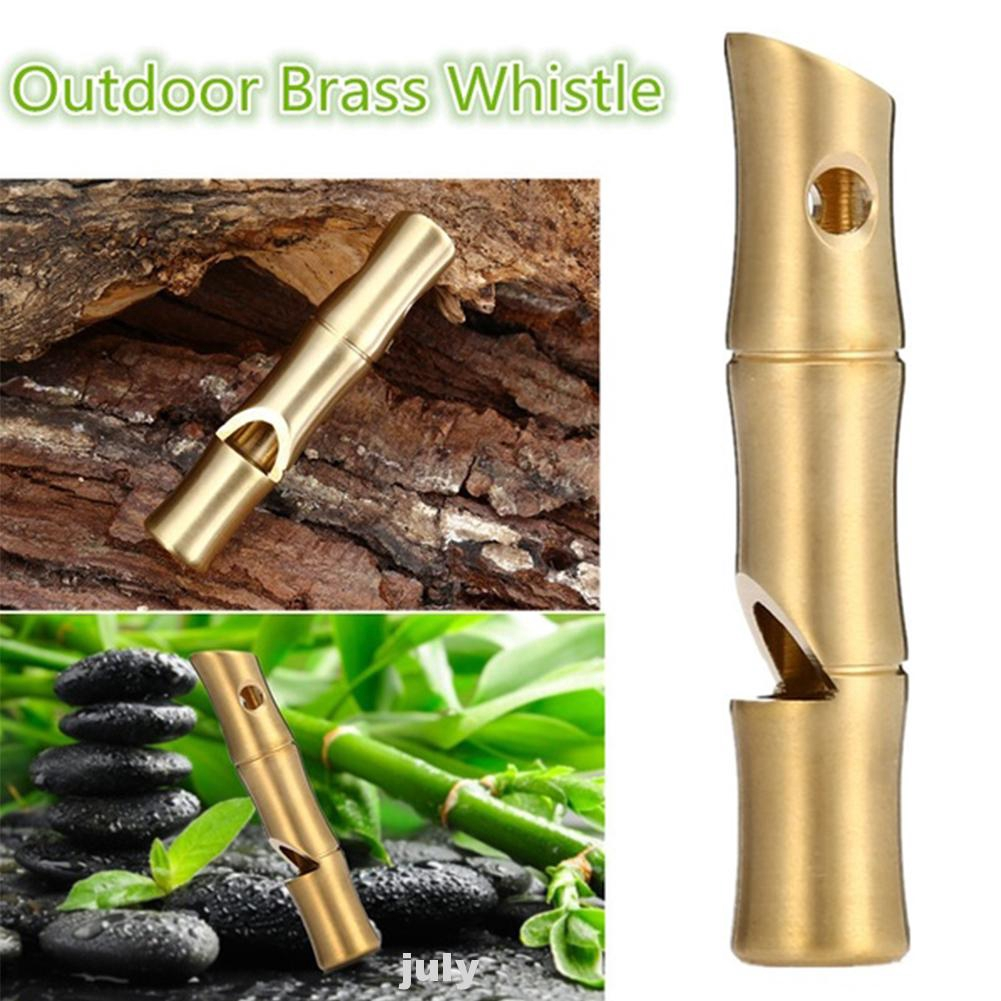Signal Whistle in Brass with Built-In Mini Compass and Keyring