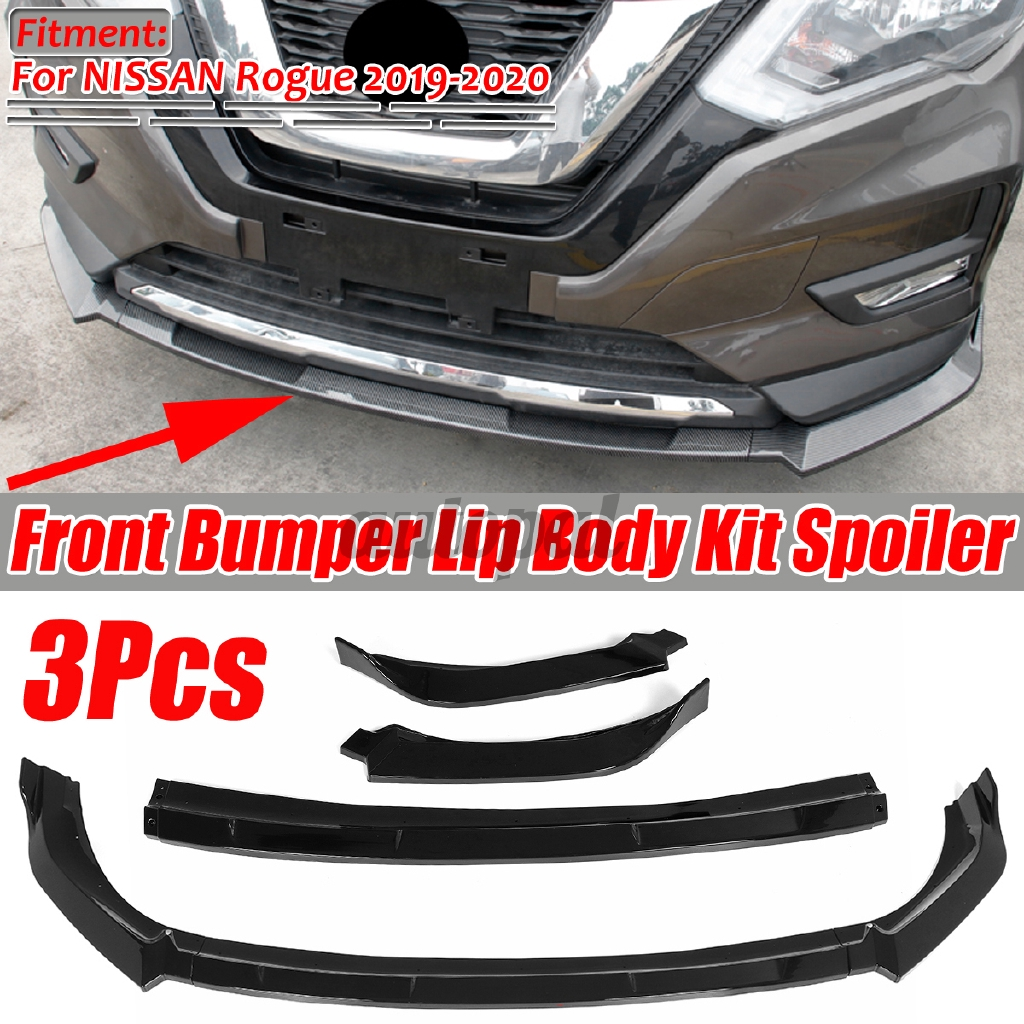 For Nissan Rogue 2019 2020 Glossy Black Front Bumper Lip Spoiler Cover Trim 3pcs Shopee Philippines