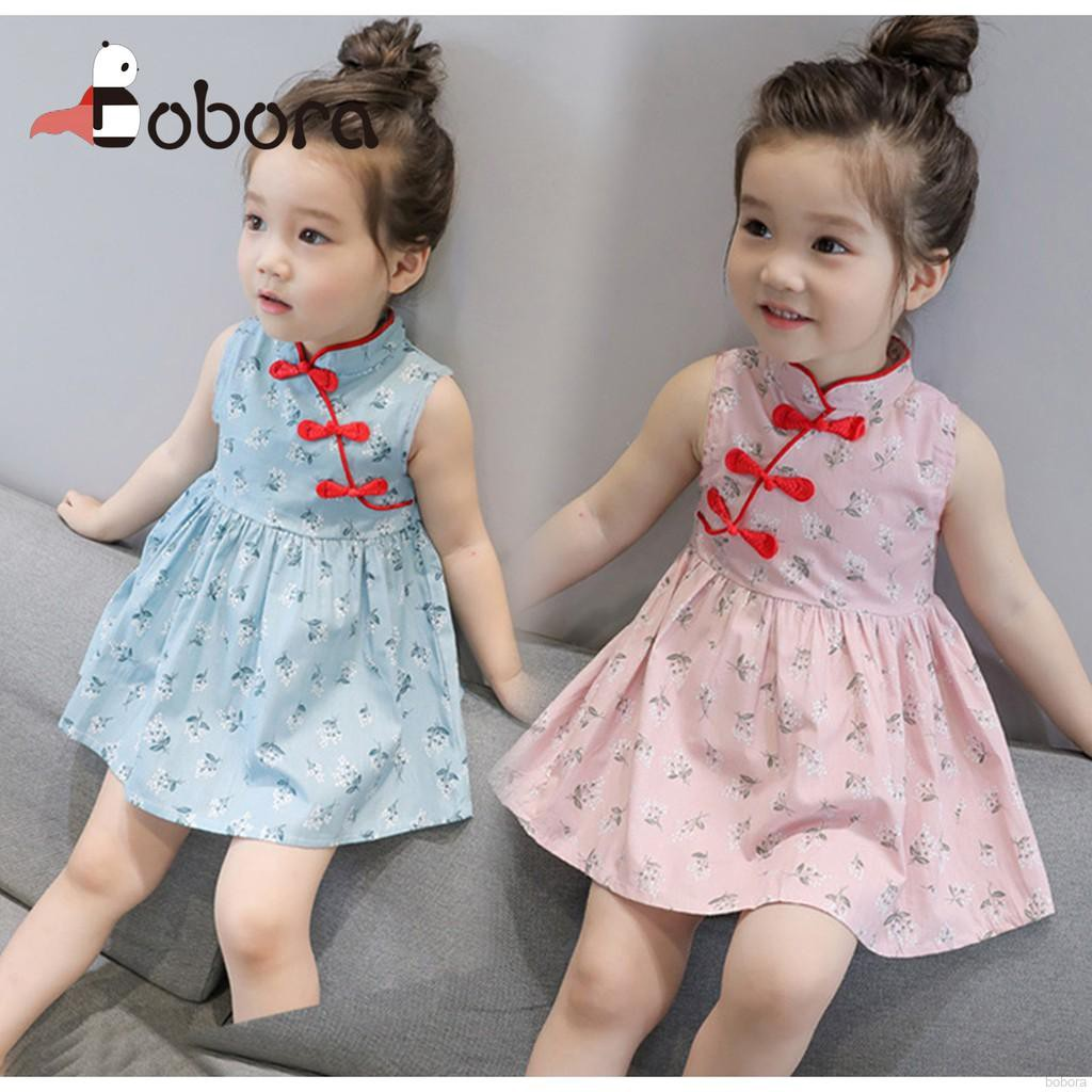 4f86676ea63a9 BOBORA Cheongsam Dress Kids Chinese New Year Floral Baby Girl Chi-Pao