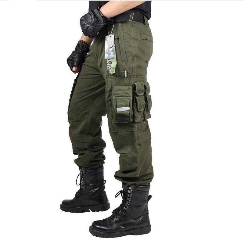 Adult Cargo Combat Pants Plain Trousers Mens Boys Side Pockets Work Wear Trouser