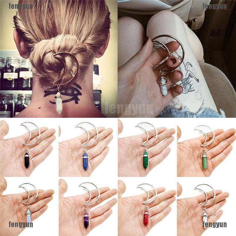 Women Vintage Alloy Moon Hair Clip Natural Stone Pendant Charms Clamp HairpinJC