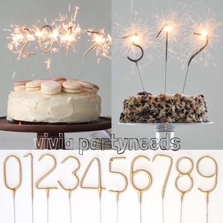 Number Sparkling Candle Topper GOLD