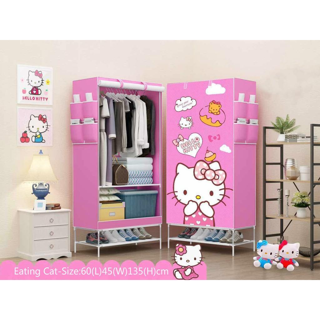 3d hello kitty wardrobe closet storage with shoe rack. Black Bedroom Furniture Sets. Home Design Ideas