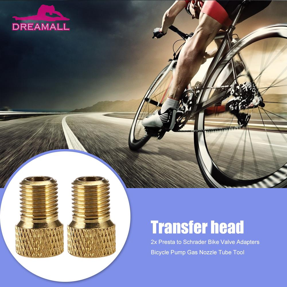 2x Presta to Schrader Bike Valve AdaptersBicycle Pump Gas Nozzle Tube Tool