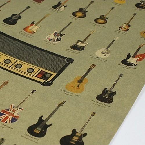 Rock Music Guitar Poster Classic Retro Vintage Home Bar Cafe Wall Art Decor 51cm