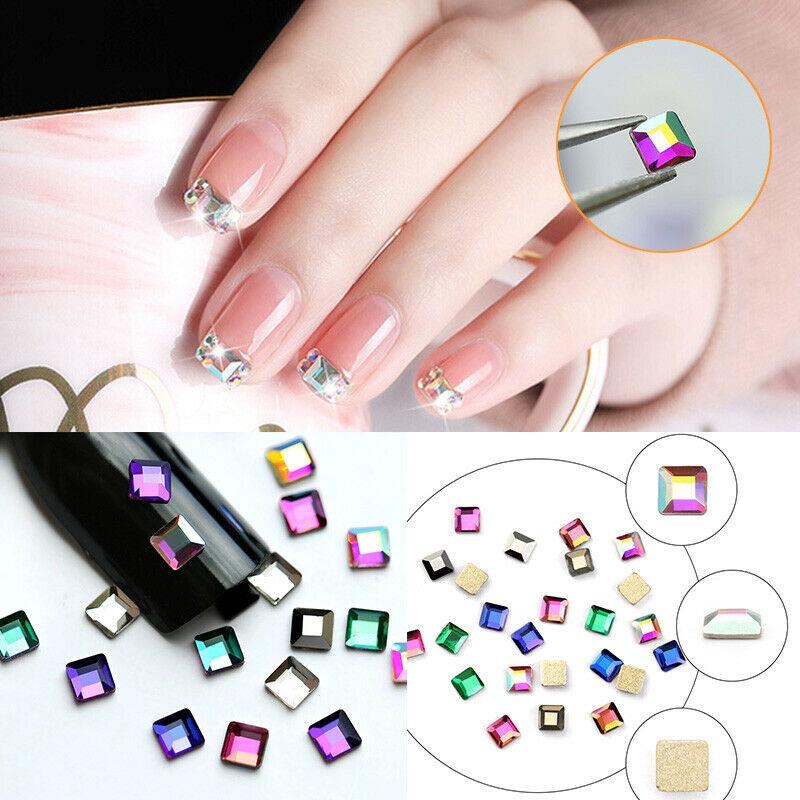 Diy 3d Nail Art Tips Square Crystal Glitter Rhinestones Decor Manicure Tool