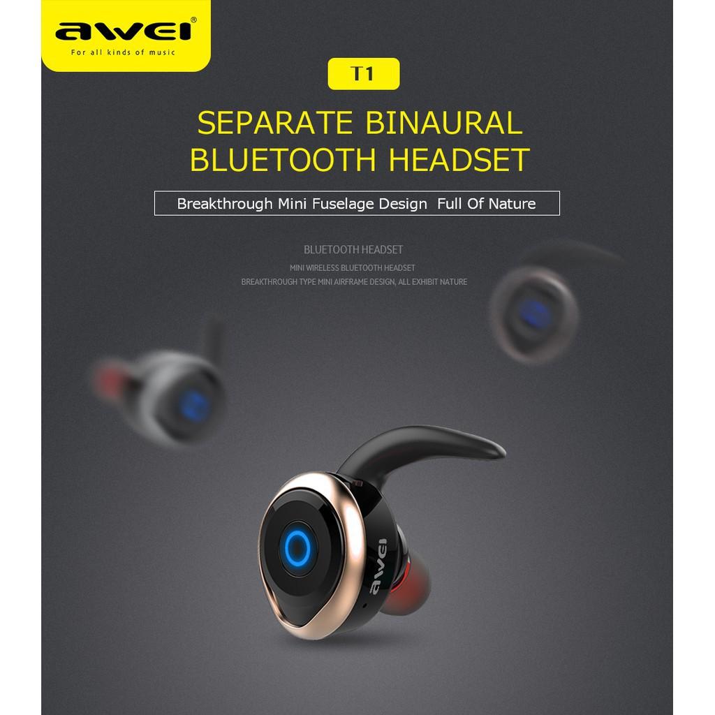 35956f616cf AWEI T1 TWS Bluetooth Earphone Mini Bluetooth Headset Double Wireless  Earbuds