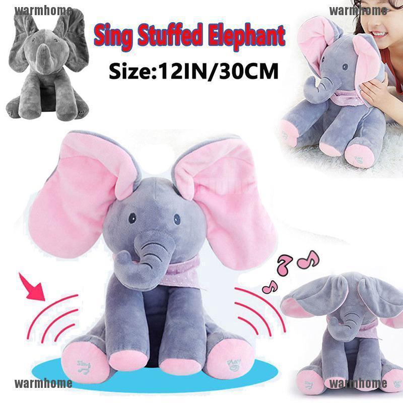 "PEEK A Boo 12/"" Stuffed Animal Elephant Toy Plush Pillow Singing Baby Music Toy"