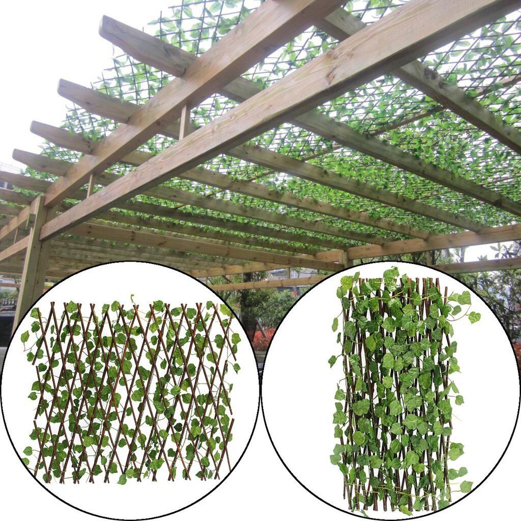 20cm Long Trellis Fence Expands w/ Artificial Ivy Leaf 20 ...