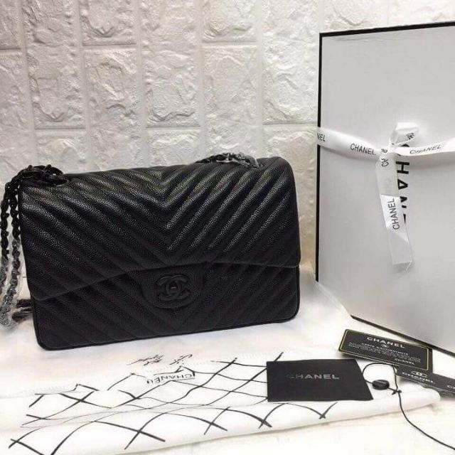 1c747a2df18b Authentic CHANEL Chevron Jumbo Double Flap So Black | Shopee Philippines